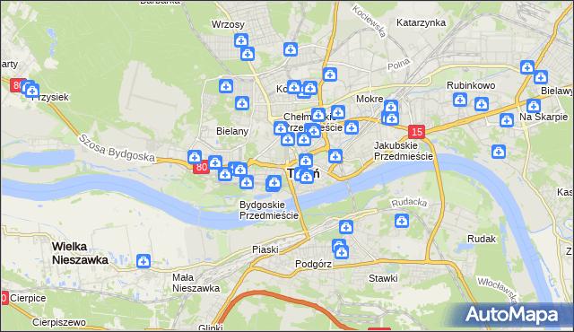 mapa Torunia, Toruń na mapie Targeo