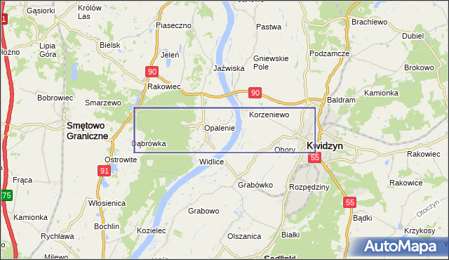 korki drogowe Droga krajowa nr 90 na mapie Targeo