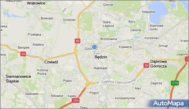 mapa Będzin, Będzin na mapie Targeo