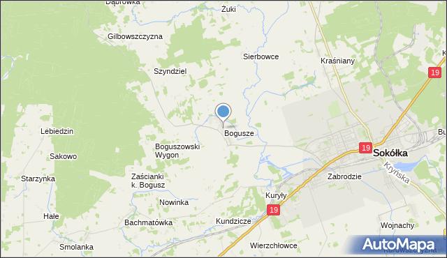 mapa Bogusze, Bogusze gmina Sokółka na mapie Targeo