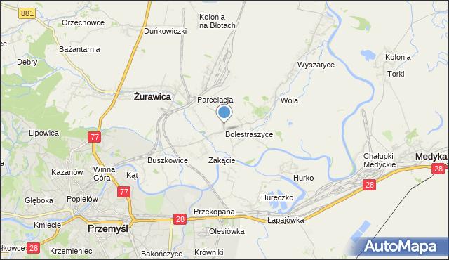 mapa Bolestraszyce, Bolestraszyce na mapie Targeo