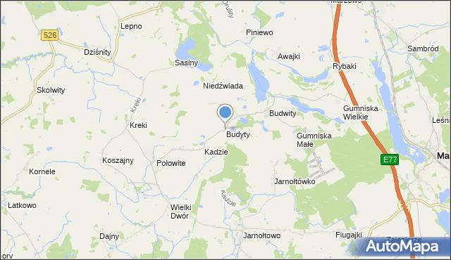 mapa Budyty, Budyty na mapie Targeo