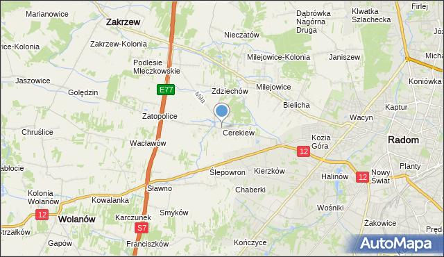mapa Cerekiew, Cerekiew gmina Zakrzew na mapie Targeo