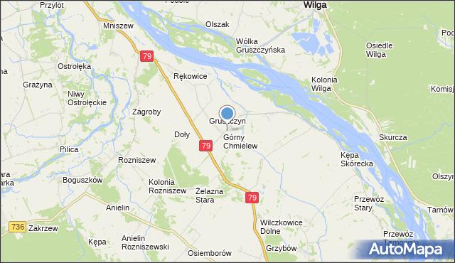 mapa Chmielew, Chmielew gmina Magnuszew na mapie Targeo