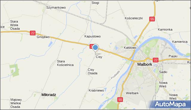 mapa Cisy, Cisy gmina Malbork na mapie Targeo