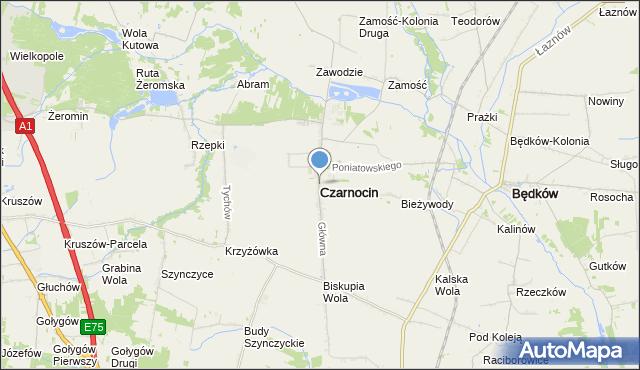mapa Czarnocin, Czarnocin powiat piotrkowski na mapie Targeo