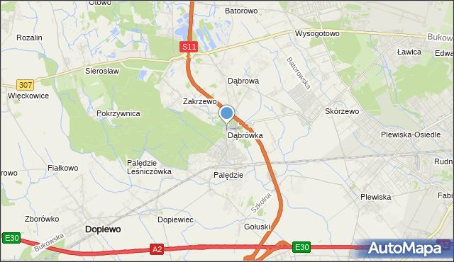 mapa Dąbrówka, Dąbrówka gmina Dopiewo na mapie Targeo
