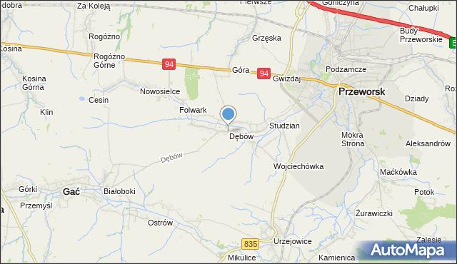 mapa Dębów, Dębów gmina Gać na mapie Targeo