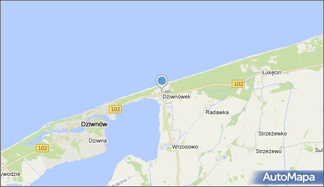 mapa Dziwnówek, Dziwnówek na mapie Targeo