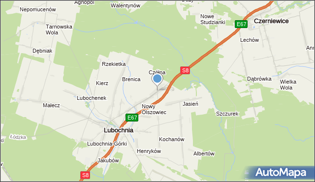 mapa Emilianów, Emilianów gmina Lubochnia na mapie Targeo