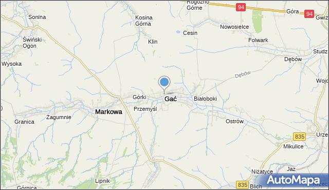 mapa Gać, Gać powiat przeworski na mapie Targeo