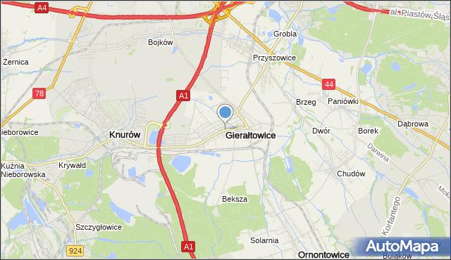 mapa Gierałtowice, Gierałtowice powiat gliwicki na mapie Targeo