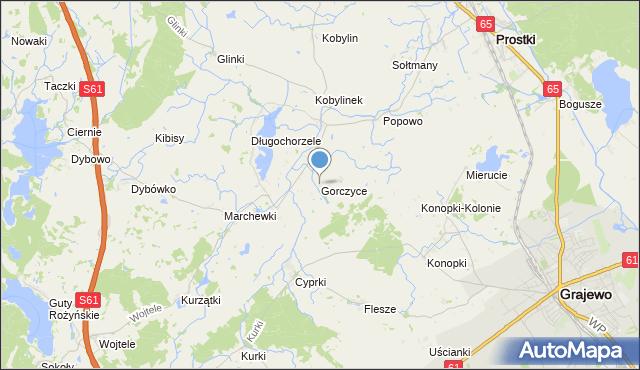 mapa Gorczyce, Gorczyce gmina Prostki na mapie Targeo