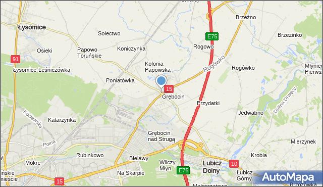 mapa Grębocin, Grębocin gmina Lubicz na mapie Targeo