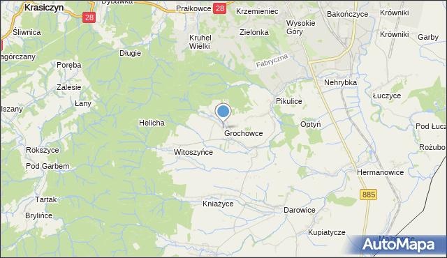 mapa Grochowce, Grochowce na mapie Targeo