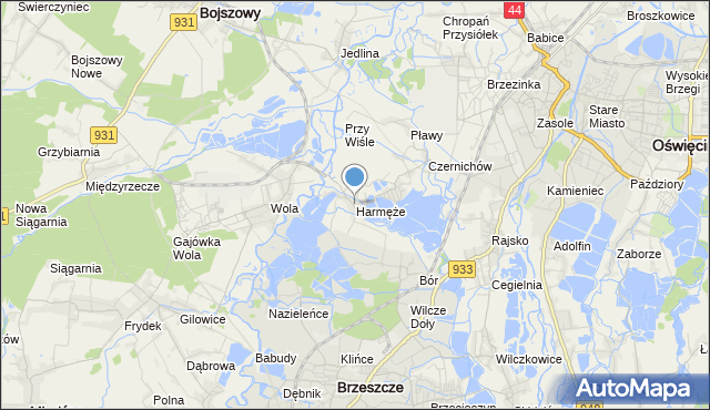 mapa Harmęże, Harmęże na mapie Targeo