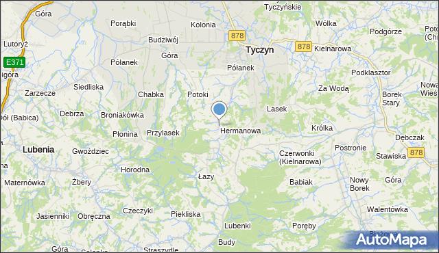 mapa Hermanowa, Hermanowa na mapie Targeo