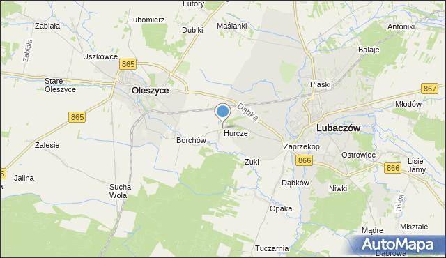 mapa Hurcze, Hurcze na mapie Targeo