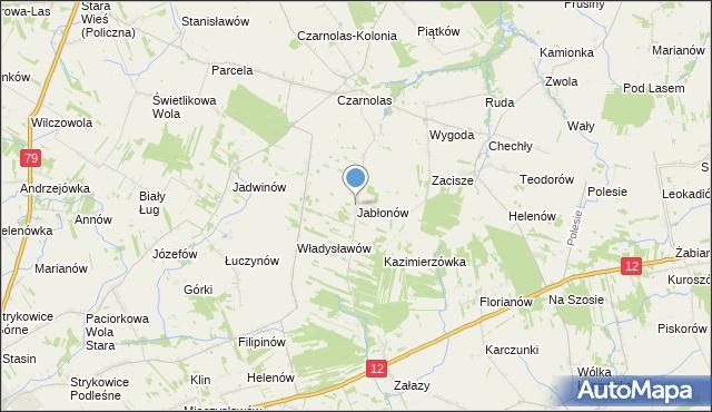 mapa Jabłonów, Jabłonów gmina Policzna na mapie Targeo