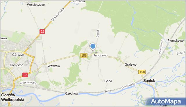 mapa Janczewo, Janczewo gmina Santok na mapie Targeo
