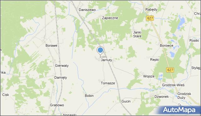 mapa Jarnuty, Jarnuty gmina Czerwin na mapie Targeo