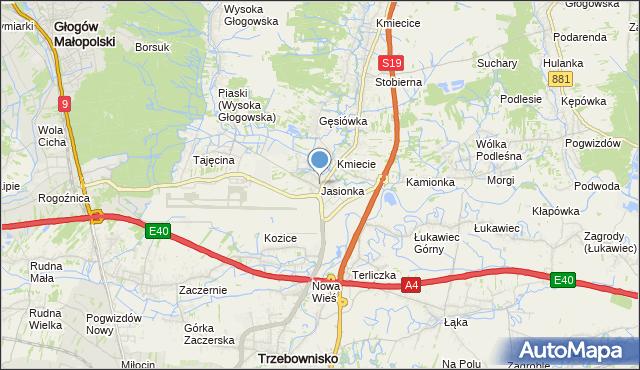 mapa Jasionka, Jasionka gmina Trzebownisko na mapie Targeo