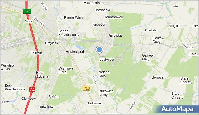 mapa Justynów, Justynów gmina Andrespol na mapie Targeo