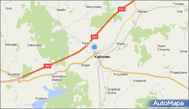 mapa Kalinowo, Kalinowo powiat ełcki na mapie Targeo