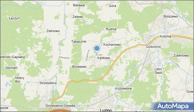 mapa Kębłowo, Kębłowo gmina Luzino na mapie Targeo