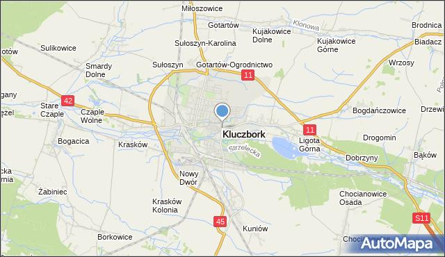 mapa Kluczbork, Kluczbork na mapie Targeo