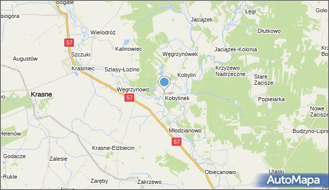 mapa Kobylinek, Kobylinek gmina Płoniawy-Bramura na mapie Targeo