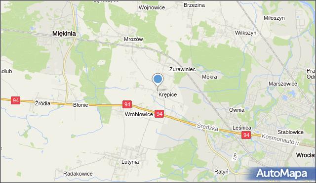 mapa Krępice, Krępice gmina Miękinia na mapie Targeo