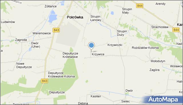 mapa Krzywice, Krzywice gmina Chełm na mapie Targeo