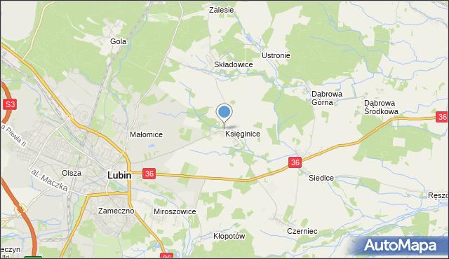 mapa Księginice, Księginice gmina Lubin na mapie Targeo