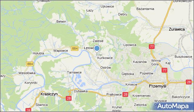 mapa Kuńkowce, Kuńkowce na mapie Targeo