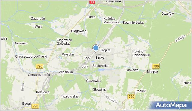 mapa Łazy, Łazy powiat zawierciański na mapie Targeo