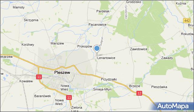 mapa Lenartowice, Lenartowice gmina Pleszew na mapie Targeo