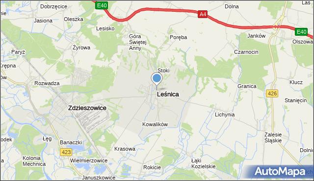 mapa Leśnica, Leśnica powiat strzelecki na mapie Targeo