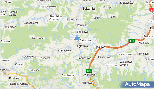 mapa Łętownia, Łętownia gmina Jordanów na mapie Targeo