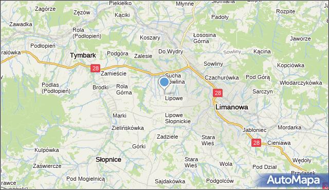 mapa Lipowe, Lipowe gmina Limanowa na mapie Targeo
