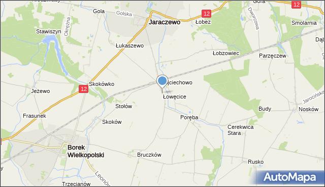 mapa Łowęcice, Łowęcice gmina Jaraczewo na mapie Targeo
