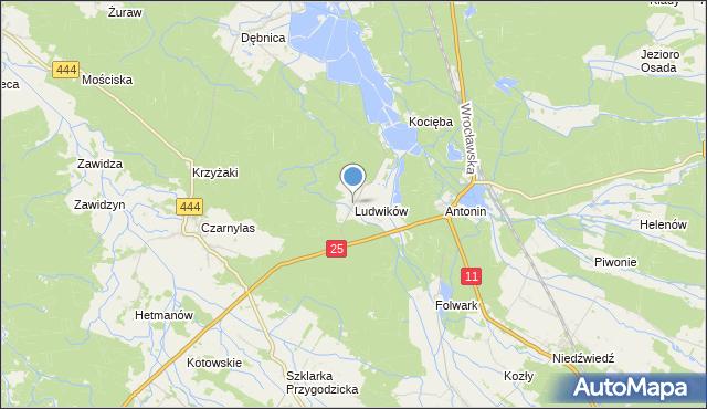 mapa Ludwików, Ludwików gmina Przygodzice na mapie Targeo