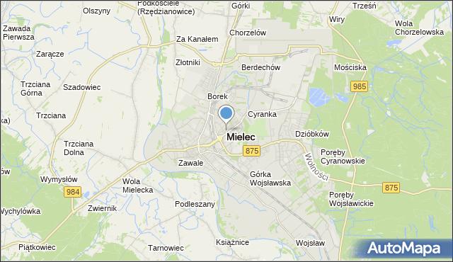 mapa Mielca, Mielec na mapie Targeo
