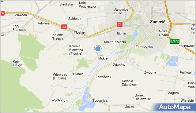 mapa Mokre, Mokre gmina Zamość na mapie Targeo