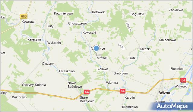 mapa Mrówki, Mrówki gmina Wizna na mapie Targeo