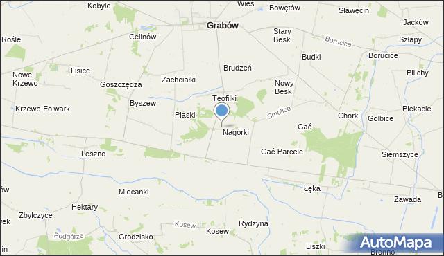 mapa Nagórki, Nagórki gmina Grabów na mapie Targeo