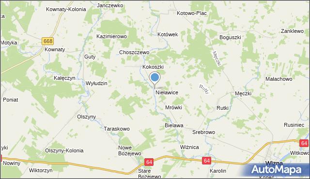 mapa Nieławice, Nieławice na mapie Targeo