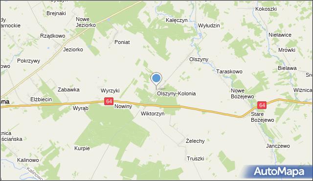 mapa Olszyny-Kolonia, Olszyny-Kolonia na mapie Targeo