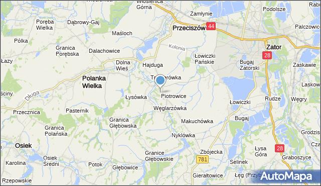 mapa Piotrowice, Piotrowice gmina Przeciszów na mapie Targeo