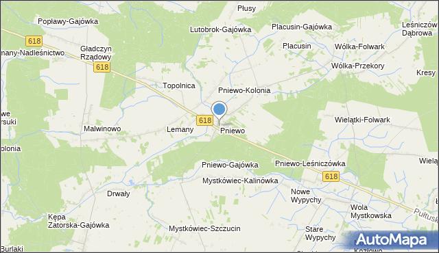 mapa Pniewo, Pniewo gmina Zatory na mapie Targeo